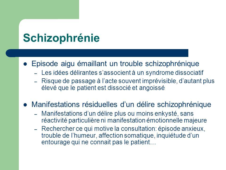 Schizophrénie Episode aigu émaillant un trouble schizophrénique