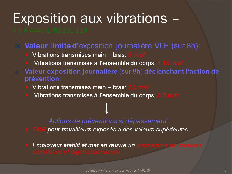 Exposition aux vibrations – Art R 4443-1/R2 231-119