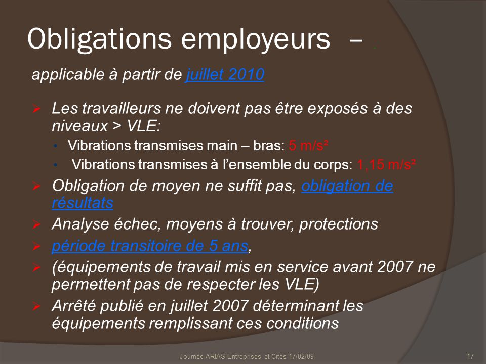 Obligations employeurs – .