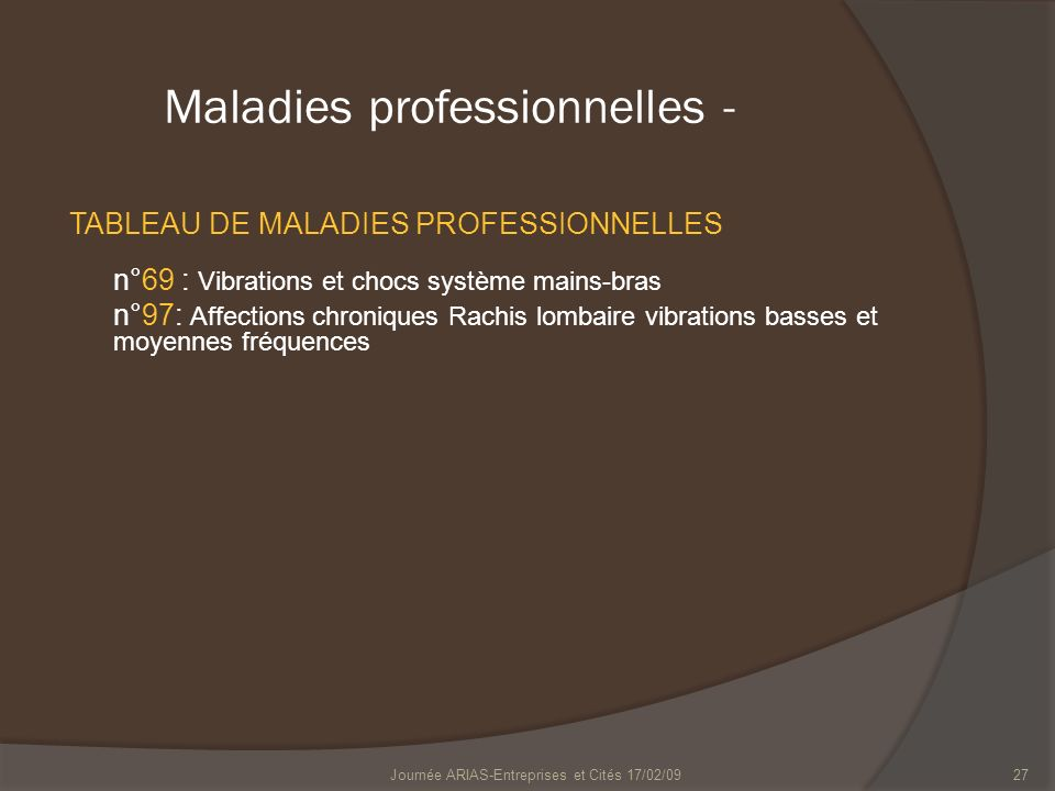 Maladies professionnelles -