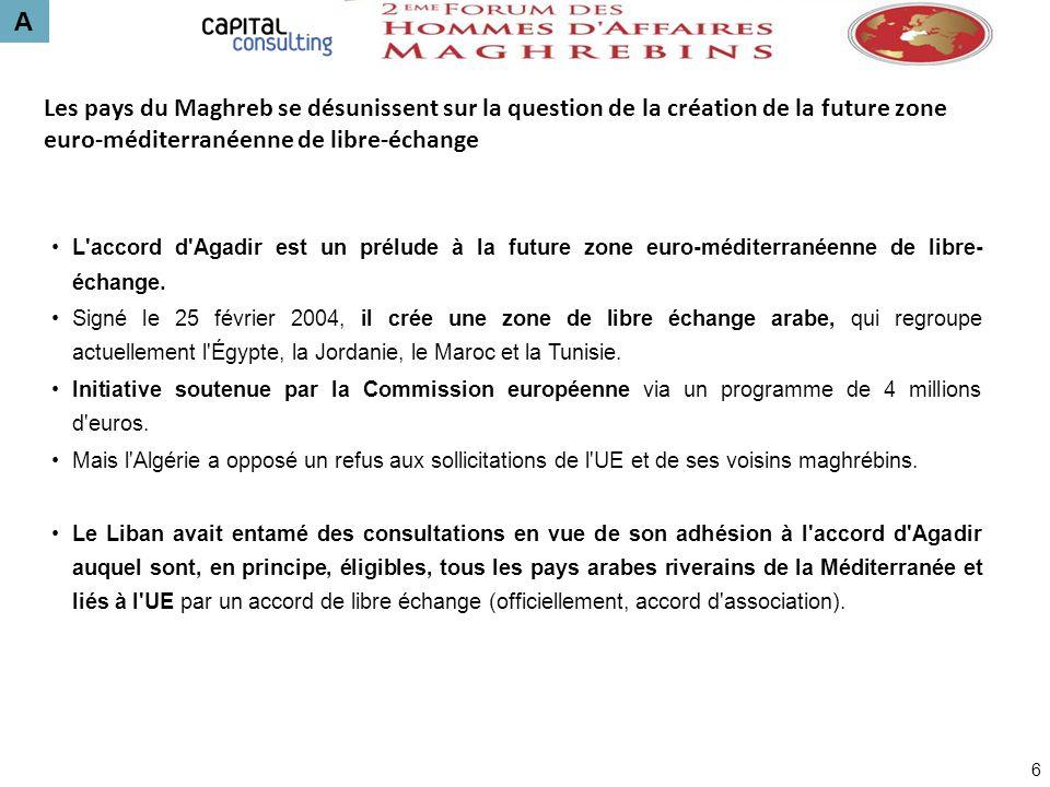 A Les pays du Maghreb se désunissent sur la question de la création de la future zone euro-méditerranéenne de libre-échange.