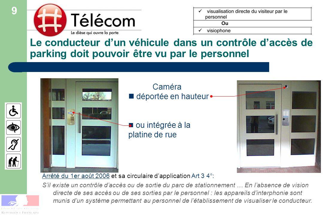 9Le conducteur d'un véhicule dans un contrôle d'accès de parking doit pouvoir être vu par le personnel.