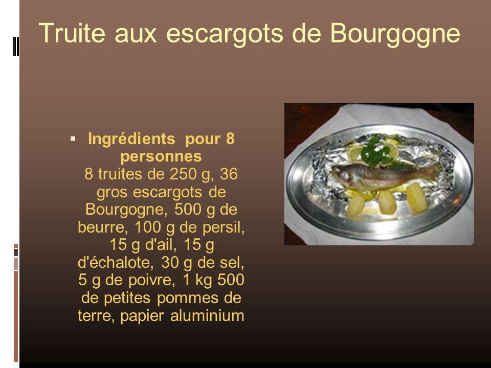 Truite aux escargots de Bourgogne