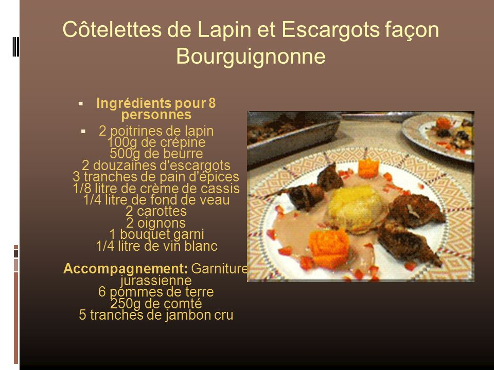 Côtelettes de Lapin et Escargots façon Bourguignonne