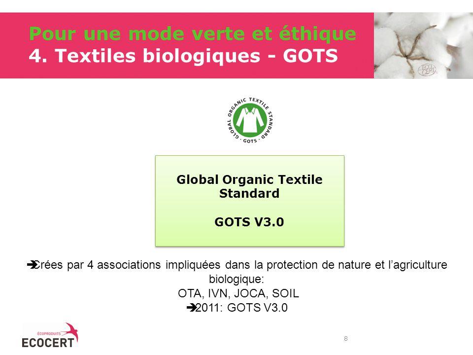 Pour une mode verte et éthique 4. Textiles biologiques - GOTS