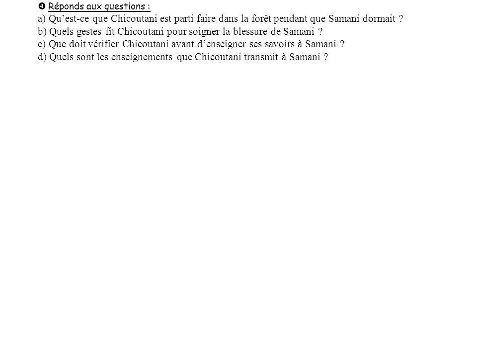 b) Quels gestes fit Chicoutani pour soigner la blessure de Samani