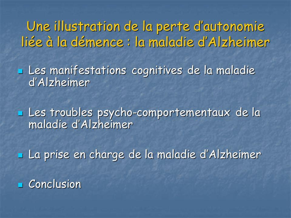 Une illustration de la perte d'autonomie liée à la démence : la maladie d'Alzheimer