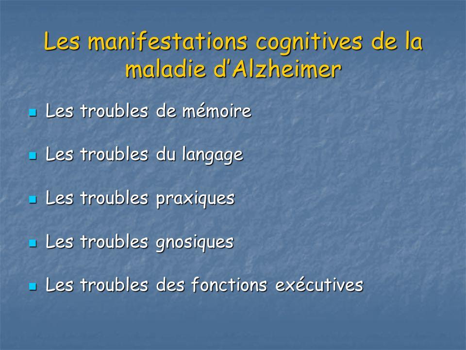 Les manifestations cognitives de la maladie d'Alzheimer