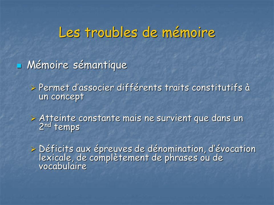 Les troubles de mémoire