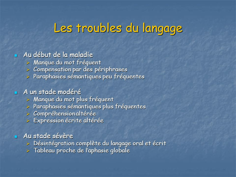 Les troubles du langage