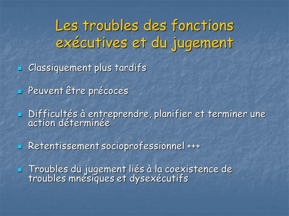Les troubles des fonctions exécutives et du jugement