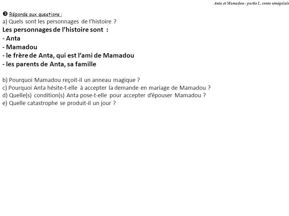 Les personnages de l'histoire sont : Anta Mamadou