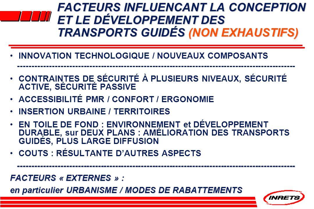 FACTEURS INFLUENCANT LA CONCEPTION ET LE DÉVELOPPEMENT DES TRANSPORTS GUIDÉS (NON EXHAUSTIFS)