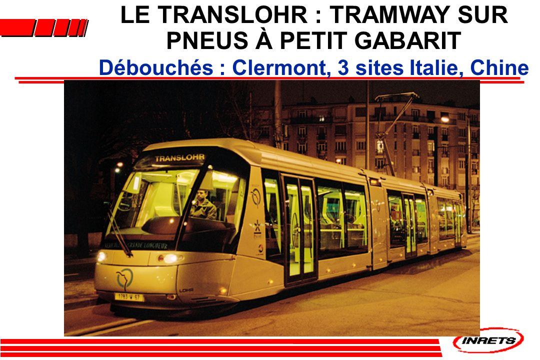 LE TRANSLOHR : TRAMWAY SUR Débouchés : Clermont, 3 sites Italie, Chine