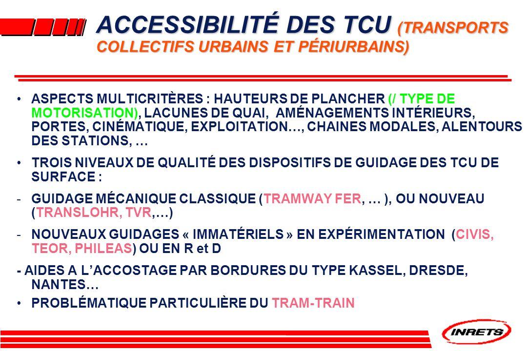 ACCESSIBILITÉ DES TCU (TRANSPORTS COLLECTIFS URBAINS ET PÉRIURBAINS)
