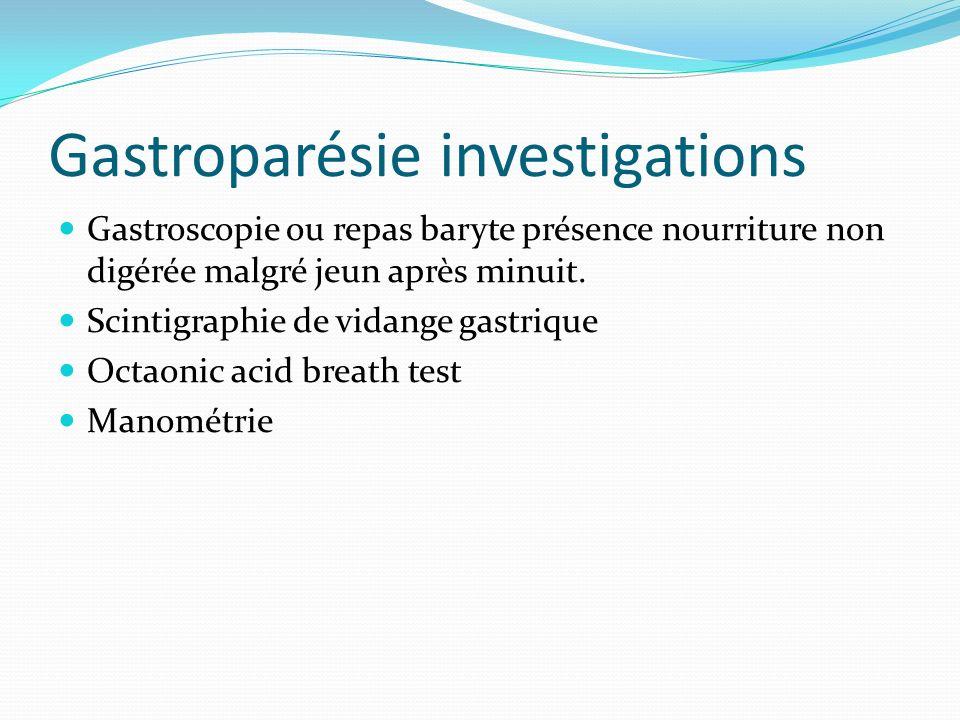Gastroparésie investigations