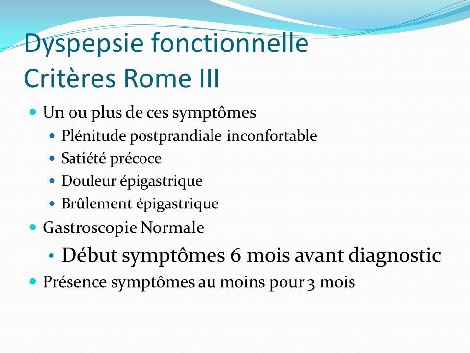 Dyspepsie fonctionnelle Critères Rome III