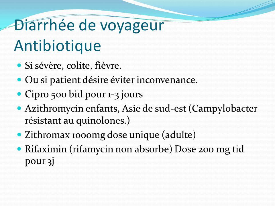 Diarrhée de voyageur Antibiotique