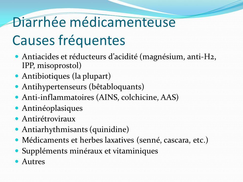 Diarrhée médicamenteuse Causes fréquentes