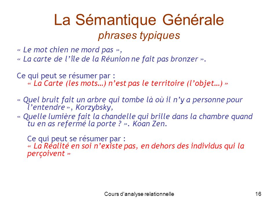 La Sémantique Générale phrases typiques