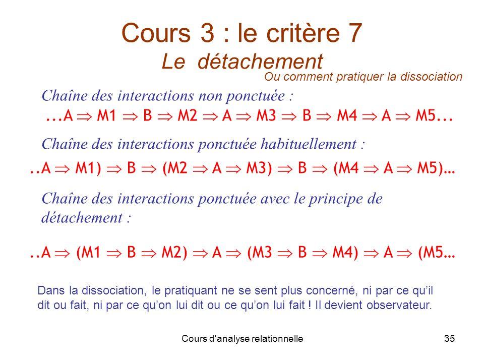 Cours 3 : le critère 7 Le détachement
