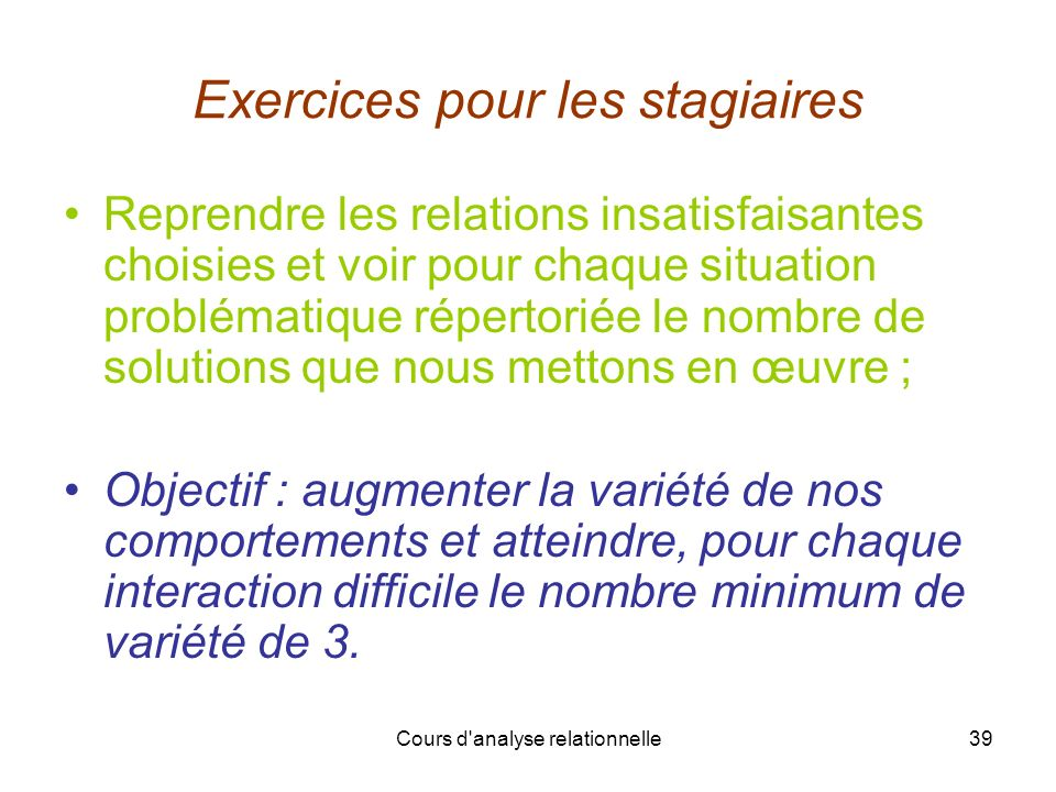 Exercices pour les stagiaires
