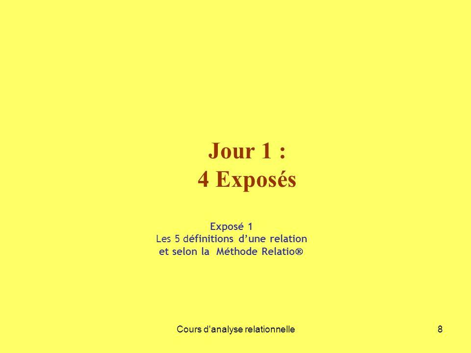 Jour 1 : 4 Exposés Exposé 1 Les 5 définitions d'une relation et selon la Méthode Relatio Cours d analyse relationnelle.