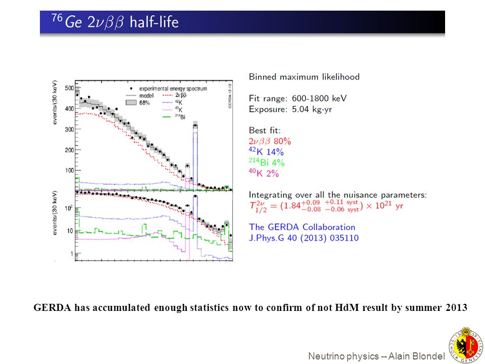 GERDA has accumulated enough statistics now to confirm of not HdM result by summer 2013