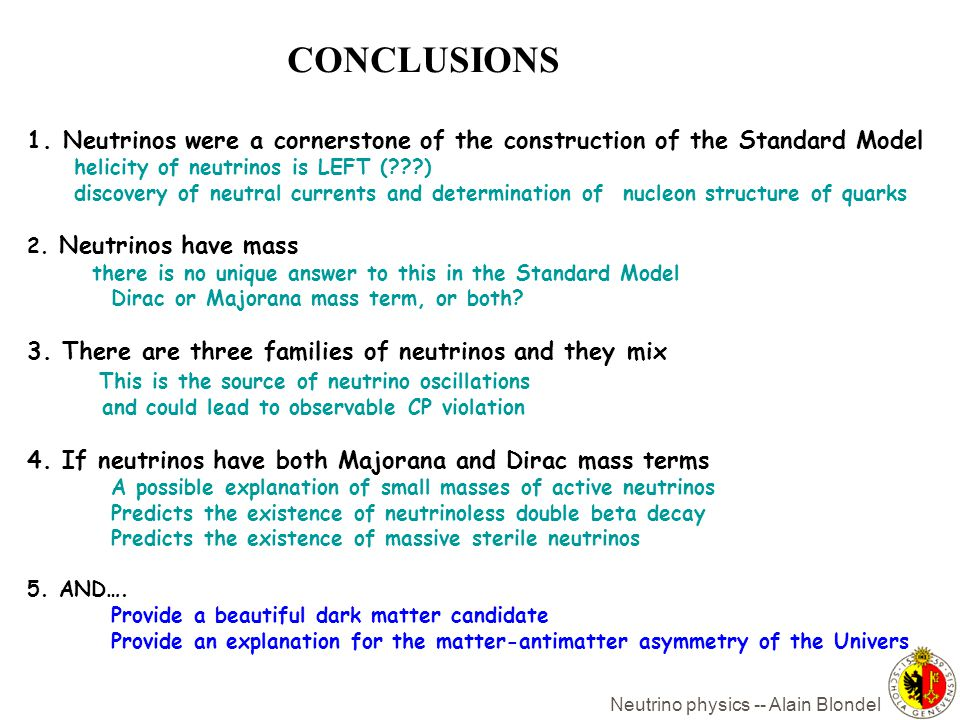 CONCLUSIONS Neutrinos were a cornerstone of the construction of the Standard Model. helicity of neutrinos is LEFT ( )