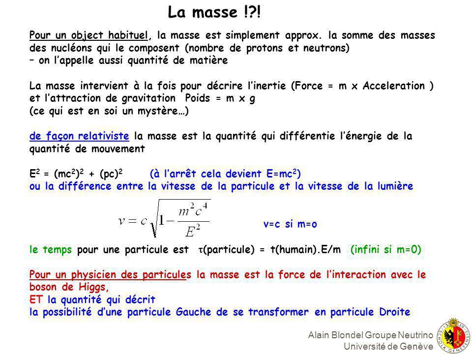 La masse ! ! Pour un object habituel, la masse est simplement approx. la somme des masses.