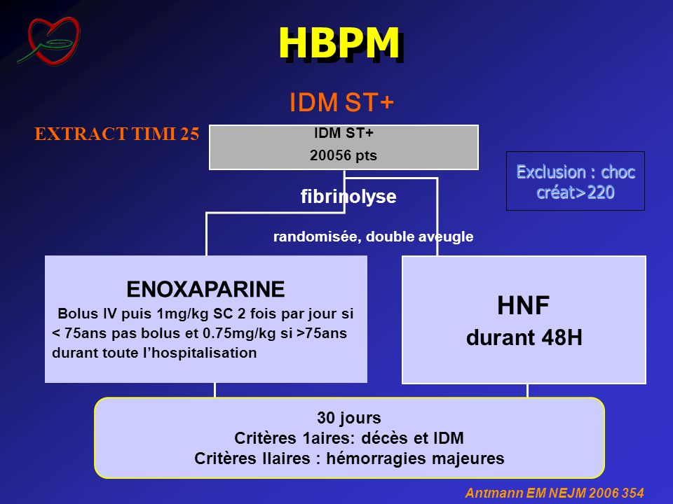 HBPM IDM ST+ HNF ENOXAPARINE durant 48H EXTRACT TIMI 25 fibrinolyse
