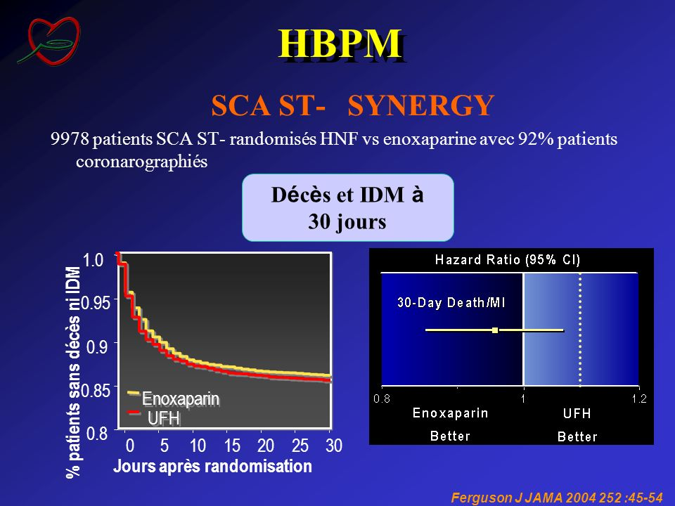 HBPM SCA ST- SYNERGY Décès et IDM à 30 jours