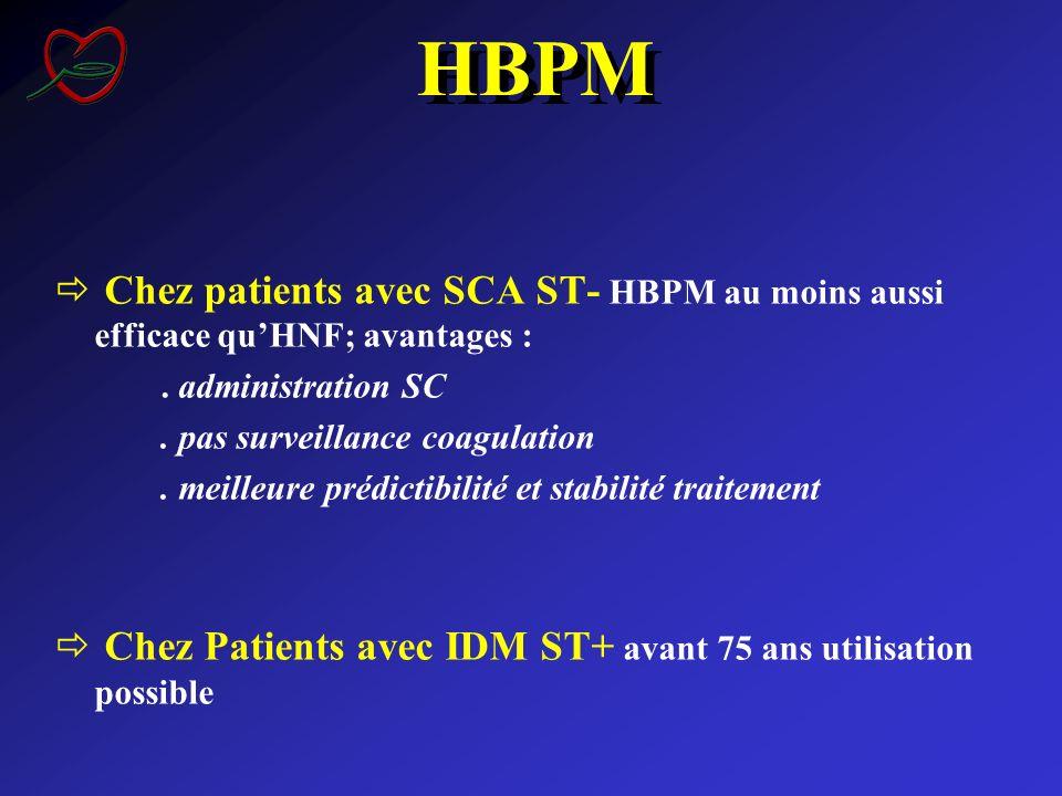 HBPM Chez patients avec SCA ST- HBPM au moins aussi efficace qu'HNF; avantages : . administration SC.