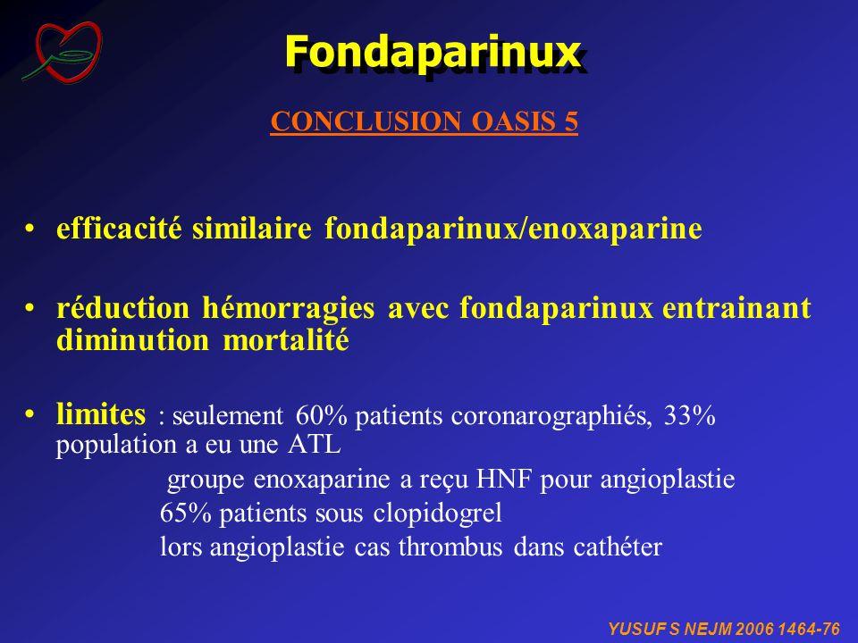 Fondaparinux efficacité similaire fondaparinux/enoxaparine