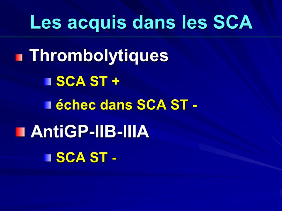 Les acquis dans les SCA AntiGP-IIB-IIIA SCA ST + échec dans SCA ST -