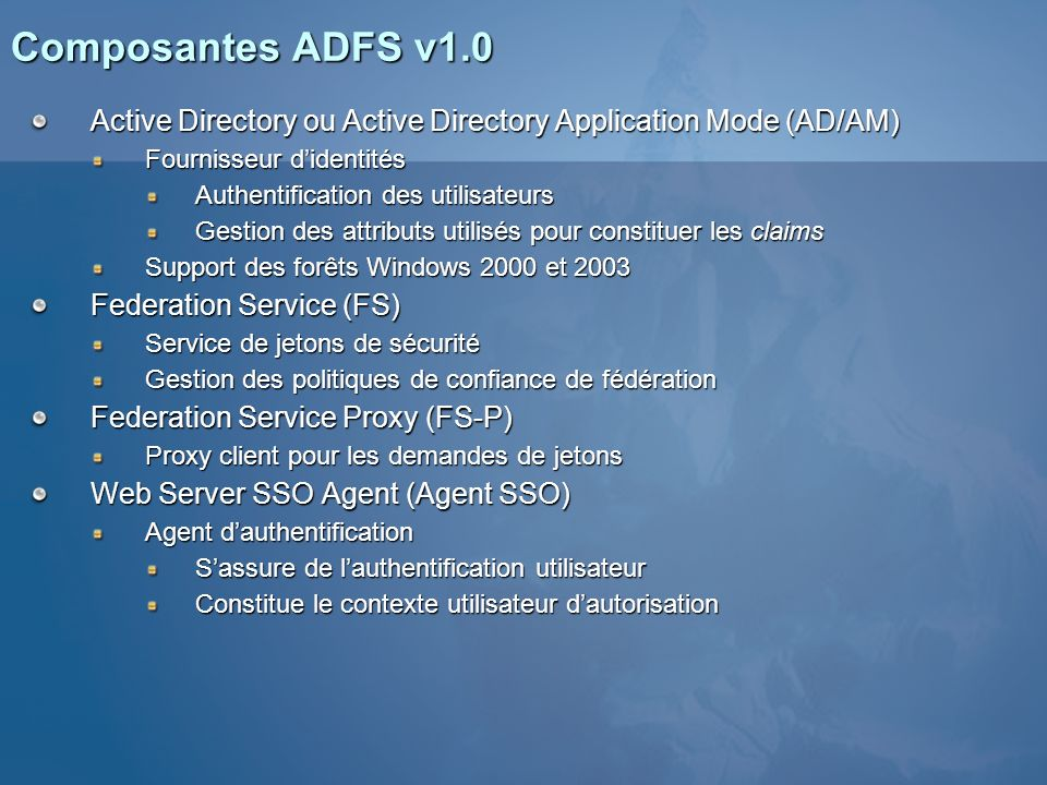 3/25/2017 1:04 AM Composantes ADFS v1.0. Active Directory ou Active Directory Application Mode (AD/AM)