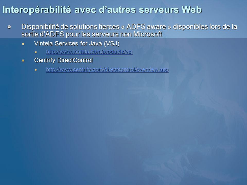 Interopérabilité avec d'autres serveurs Web