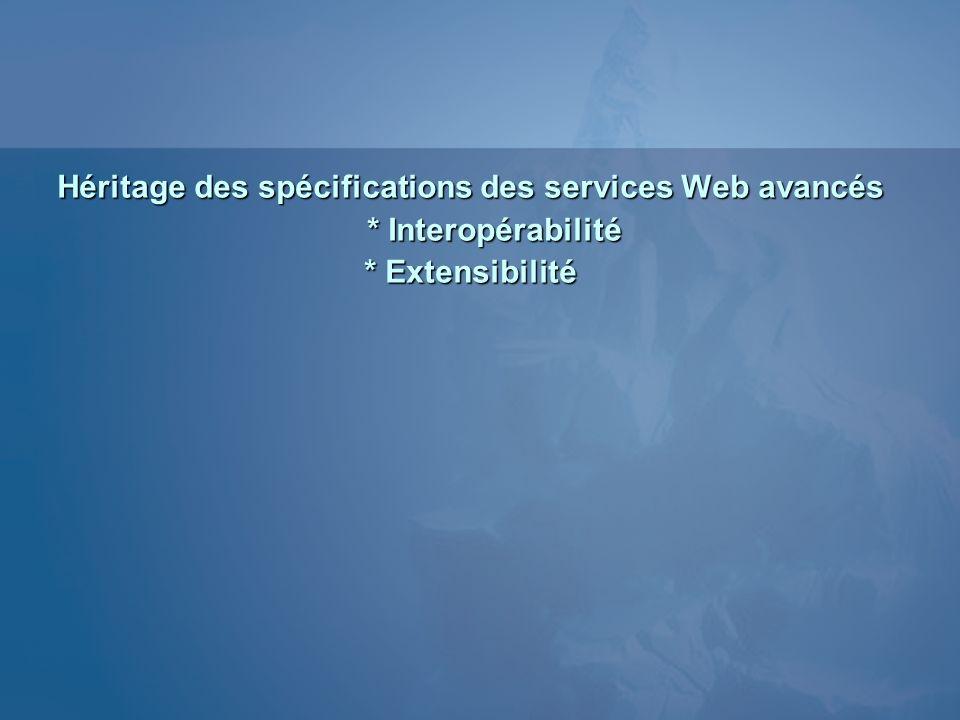 Héritage des spécifications des services Web avancés