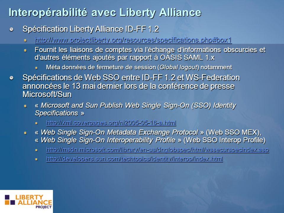 Interopérabilité avec Liberty Alliance