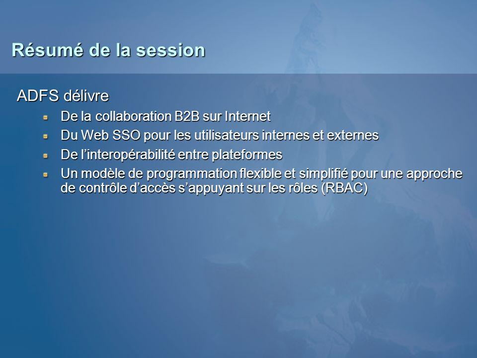 Résumé de la session ADFS délivre De la collaboration B2B sur Internet