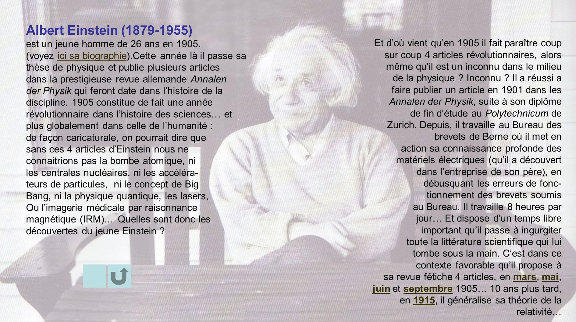 Albert Einstein (1879-1955) est un jeune homme de 26 ans en 1905.