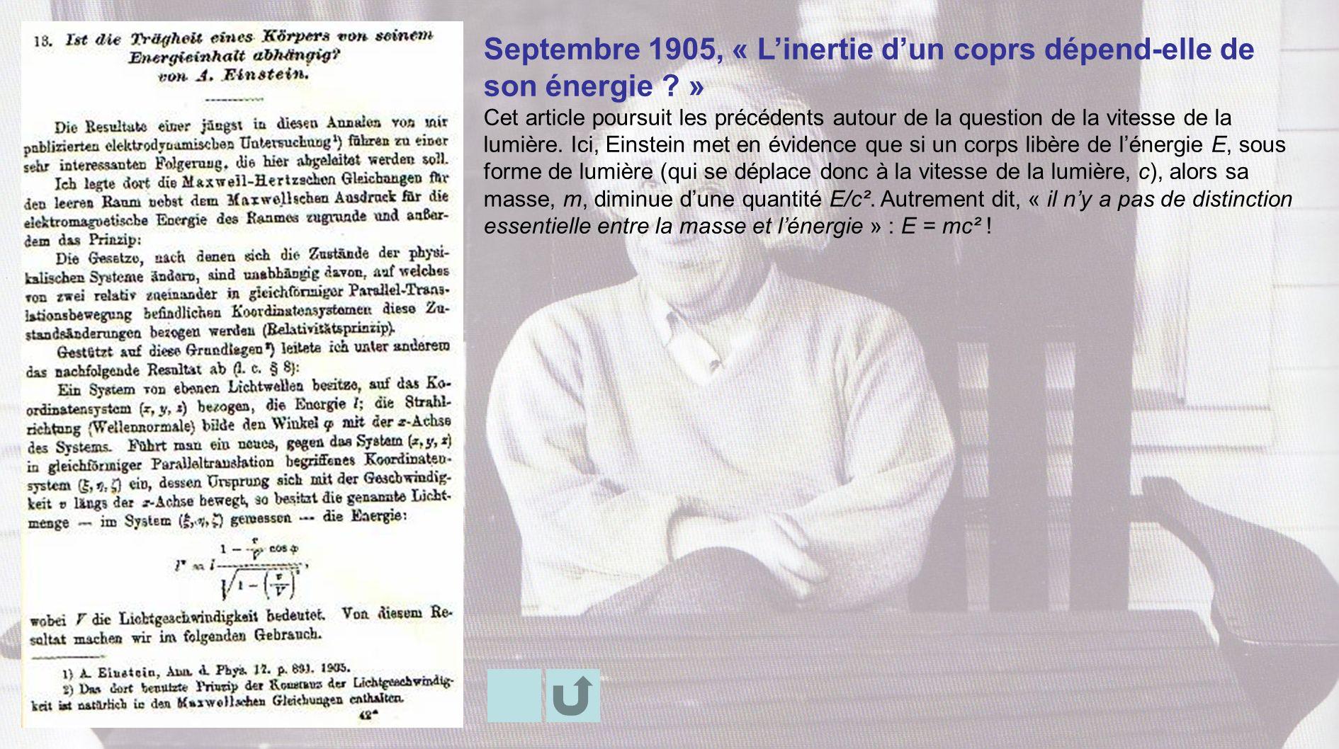 Septembre 1905, « L'inertie d'un coprs dépend-elle de son énergie »