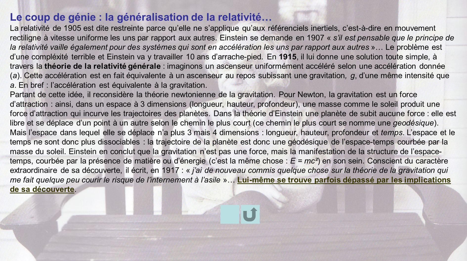 Le coup de génie : la généralisation de la relativité…