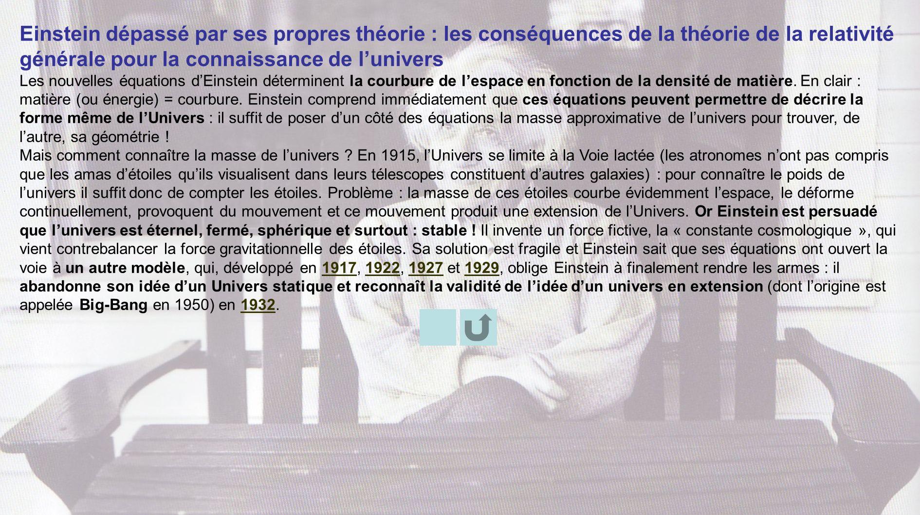 Einstein dépassé par ses propres théorie : les conséquences de la théorie de la relativité générale pour la connaissance de l'univers