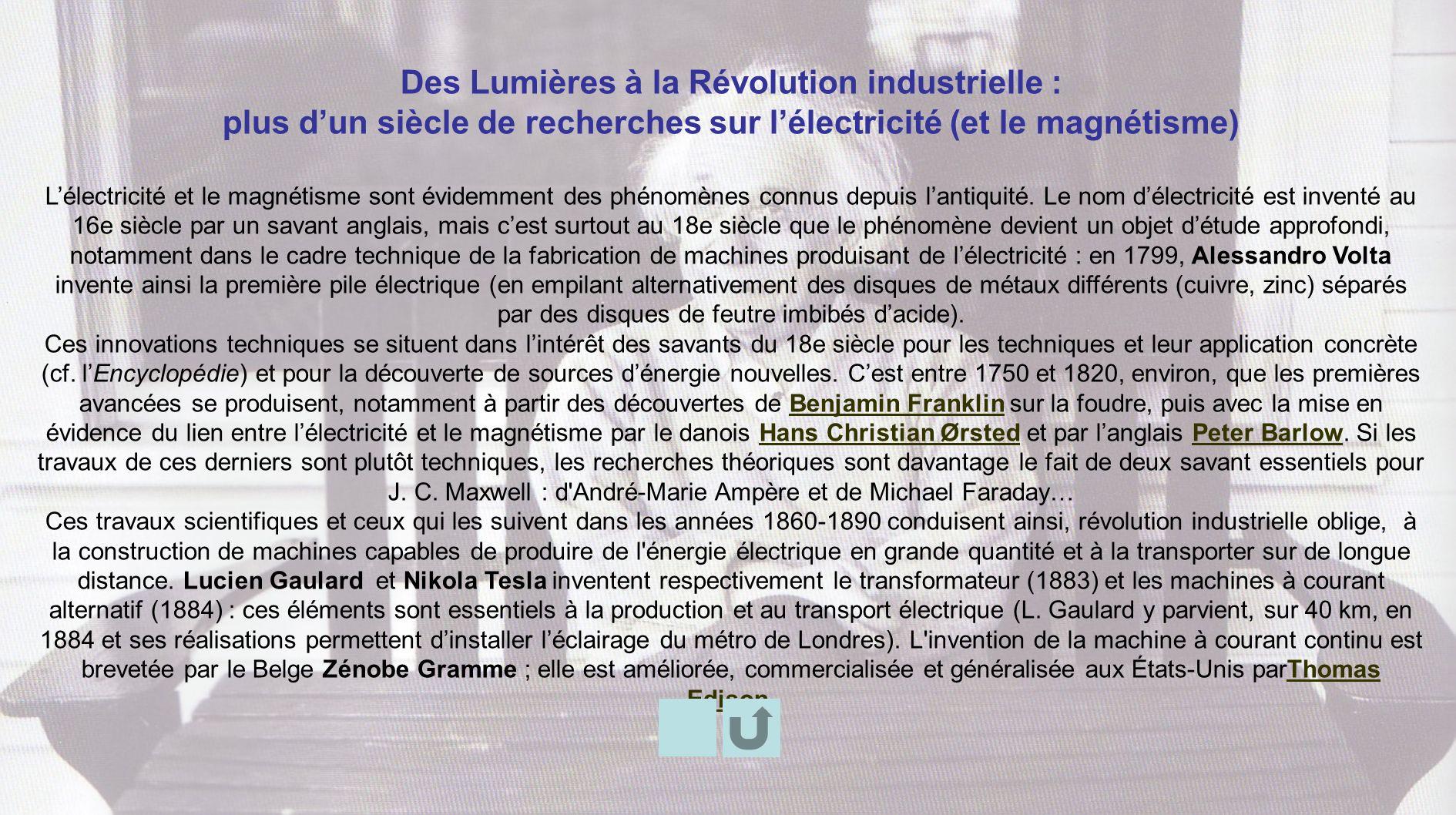 Des Lumières à la Révolution industrielle :