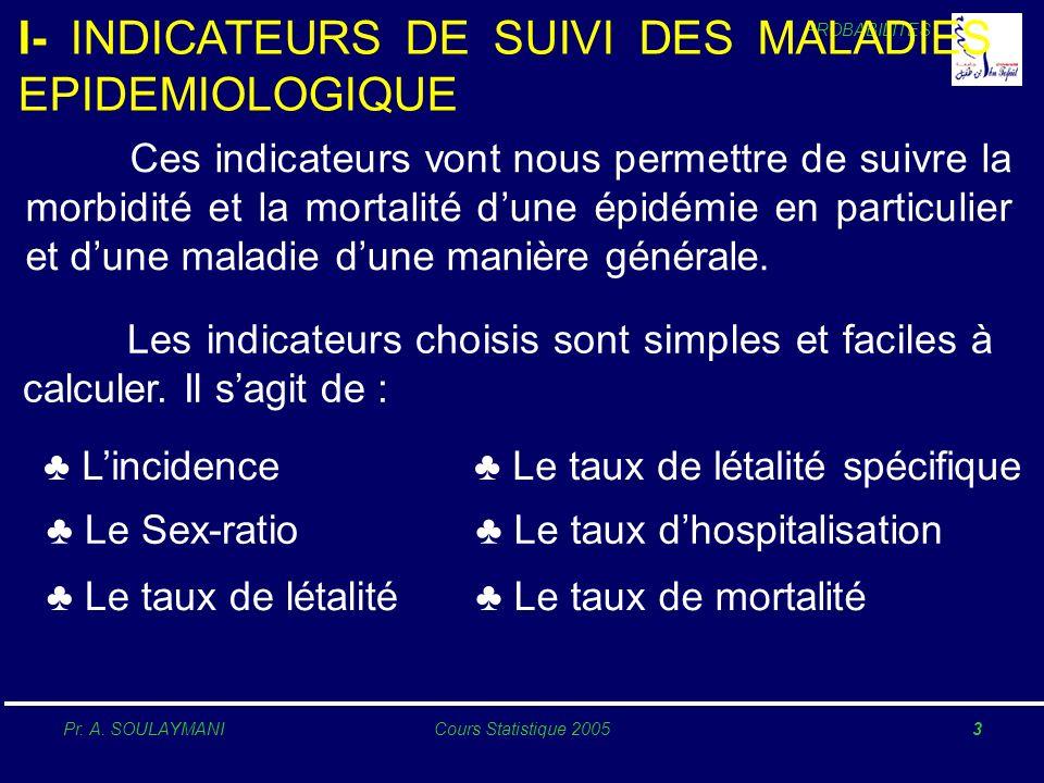I- INDICATEURS DE SUIVI DES MALADIES EPIDEMIOLOGIQUE