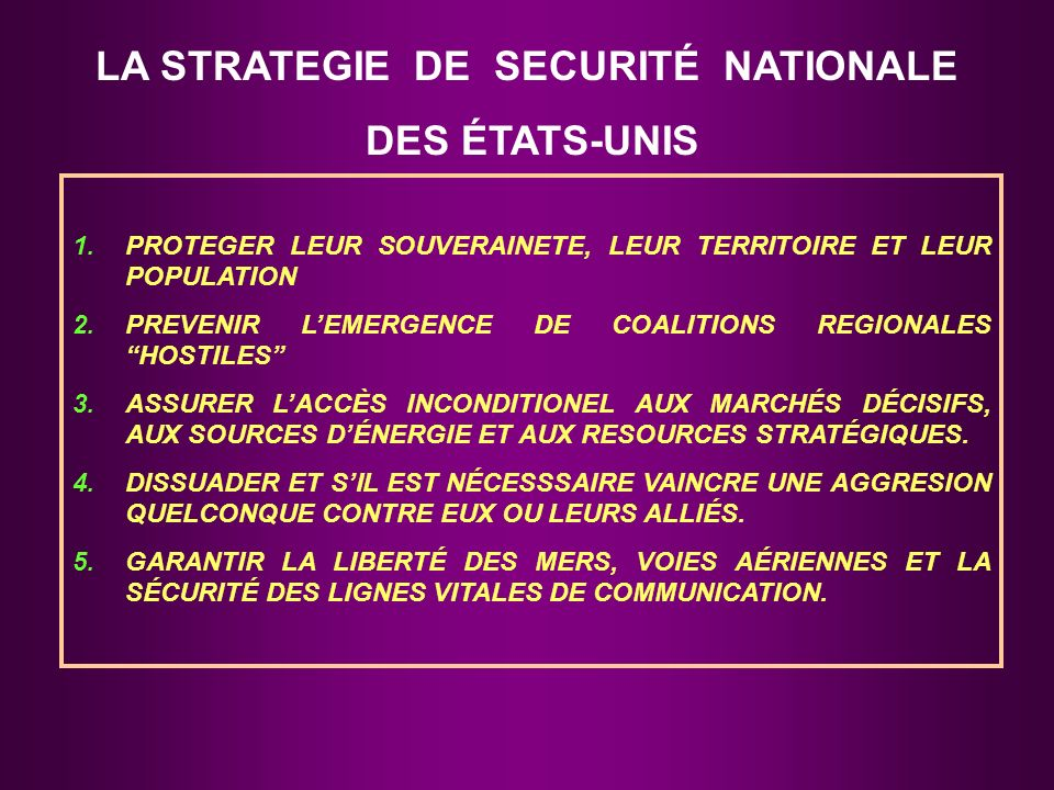 LA STRATEGIE DE SECURITÉ NATIONALE