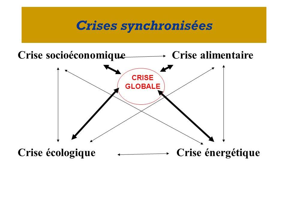 Crises synchronisées Crise socioéconomique Crise alimentaire