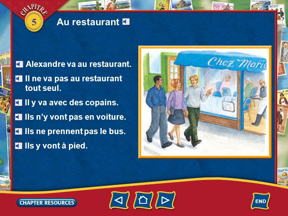 Au restaurant Alexandre va au restaurant.