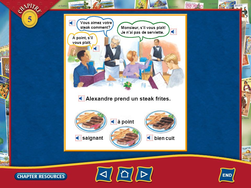 Alexandre prend un steak frites.